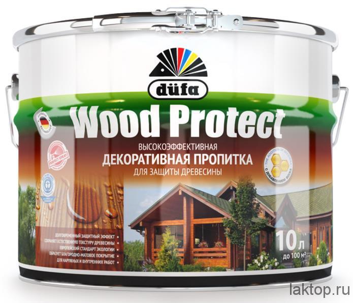 Wood Protect Высокоэффективная декоративная пропитка для защиты древесины Dufa