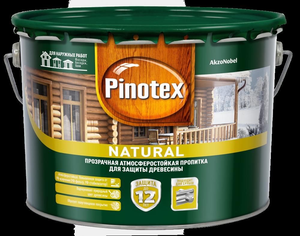 Pinotex natural Prozrachnaya atmosferostoykaya propitka dlya zashchity drevesiny 10l