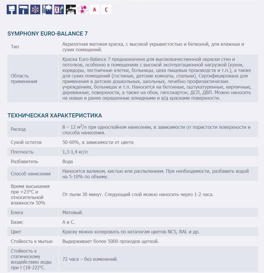 SYMPHONY EURO-BALANCE 7 AKRILATNAYa GLUBOKO MATOVAYa KRASKA SUPER-BELAYa 1