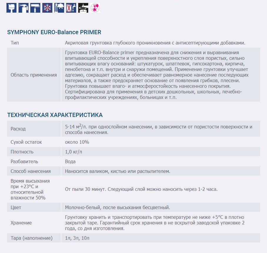 SYMPHONY EURO-Balance PRIMER TEKhNIChESKAYa KhARAKTERISTIKA