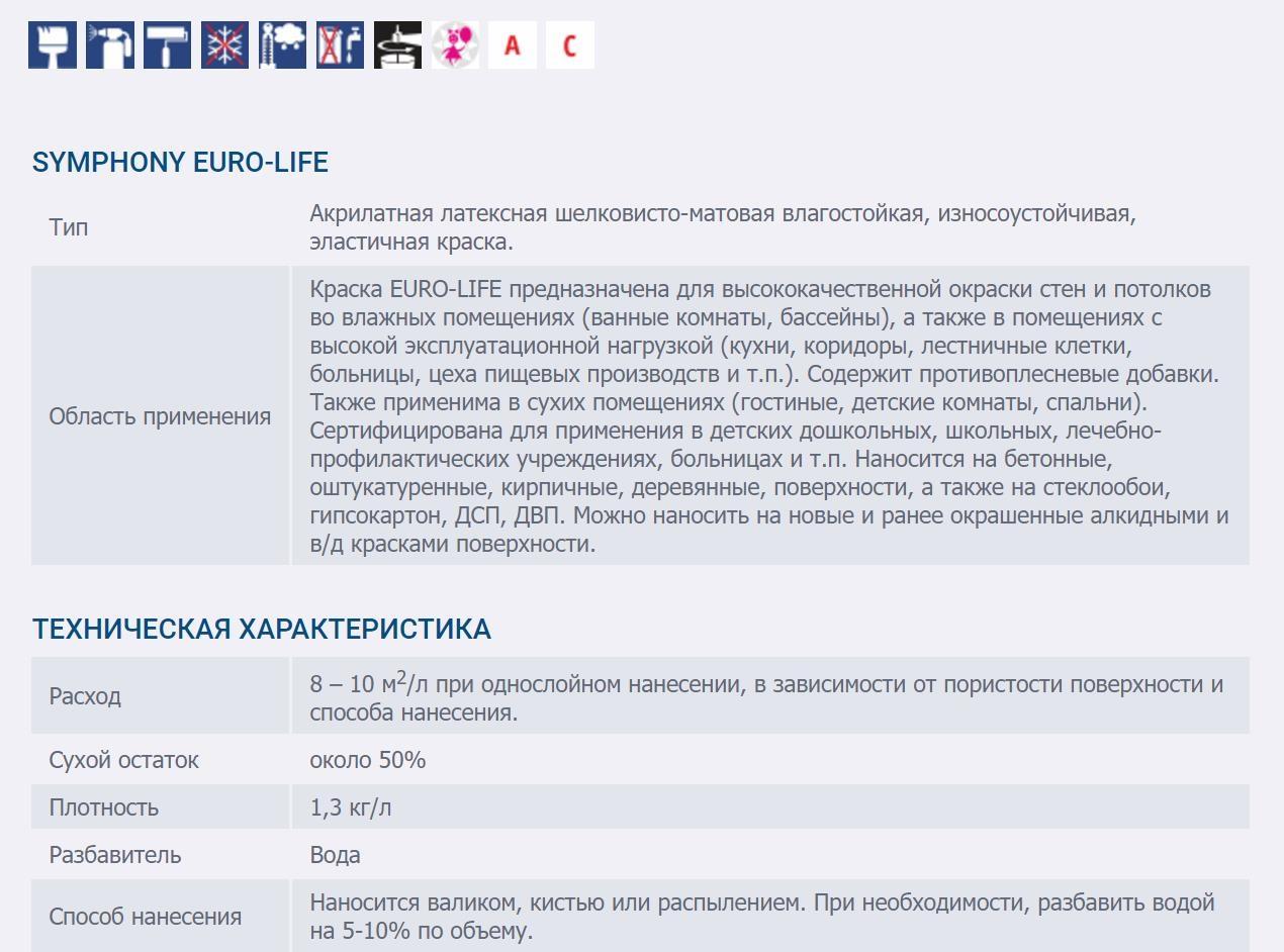 SYMPHONY EURO - LIFE Vlagostoykaya shelkovisto-matovaya kraska 1